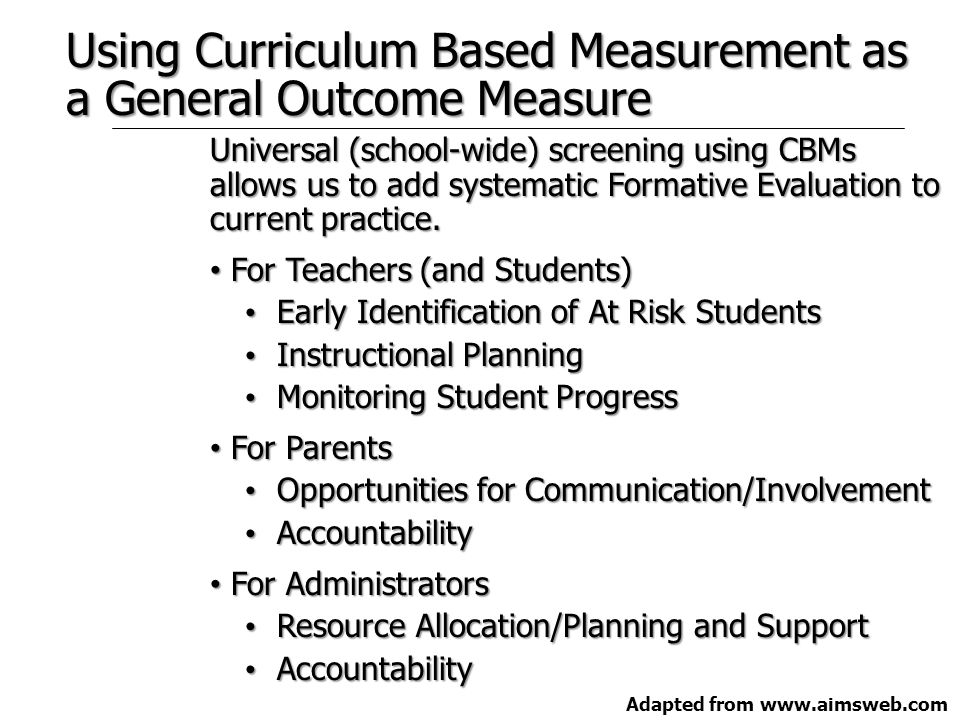 1st Meeting 1st Step - Parent invitation needs to be sent home PRIOR to the meeting Well defined target behavior: –Enabling skills for written expression: mechanics and expression –Enabling skills for math: number sense, facts, computation, applications, and problem solving –Enabling skills for behavior: social skills, work completion, compliance, and problem solving skills Define the problem by examining effects of environment, curriculum, instruction, and learner