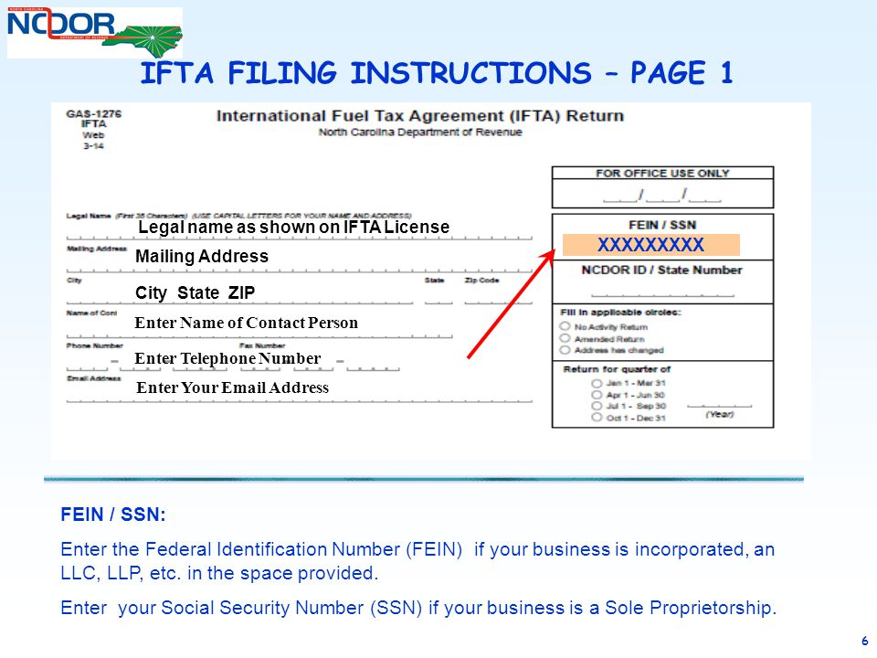 6 FEIN / SSN: Enter the Federal Identification Number (FEIN) if your business is incorporated, an LLC, LLP, etc. in the space provided. Enter your Soc