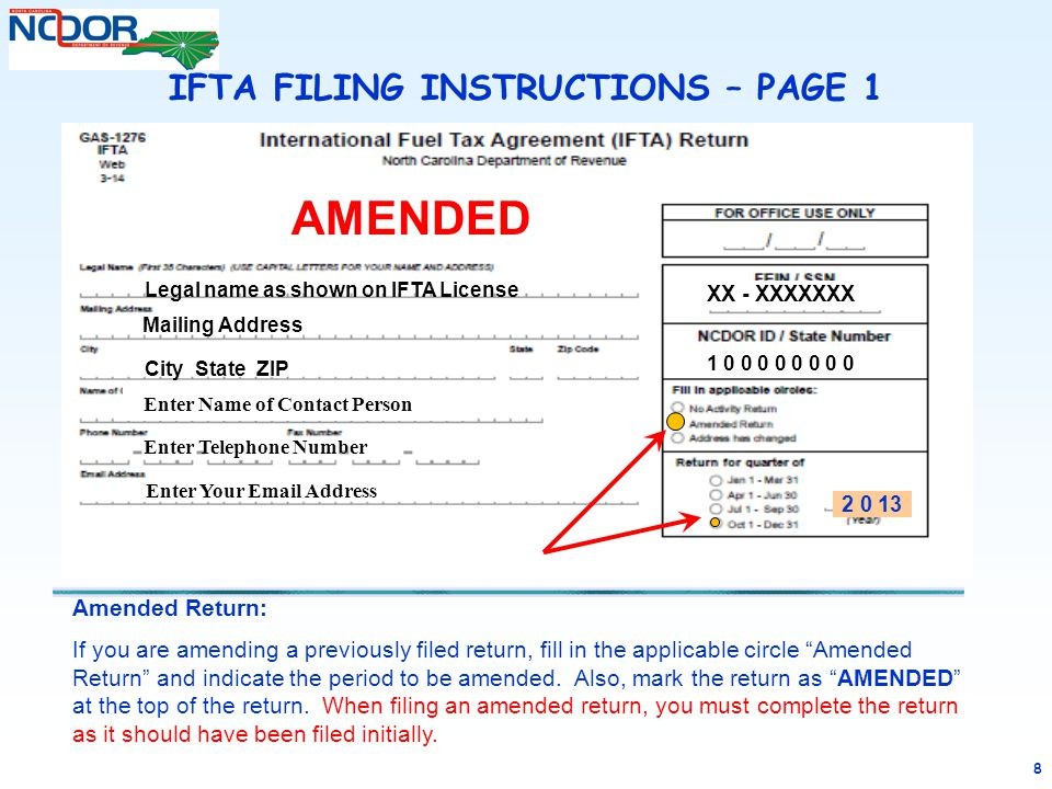 """8 Amended Return: If you are amending a previously filed return, fill in the applicable circle """"Amended Return"""" and indicate the period to be amended."""