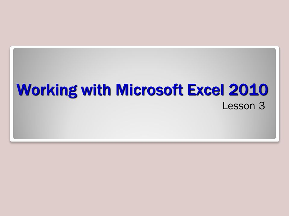 Working with Microsoft Excel 2010 Lesson 3