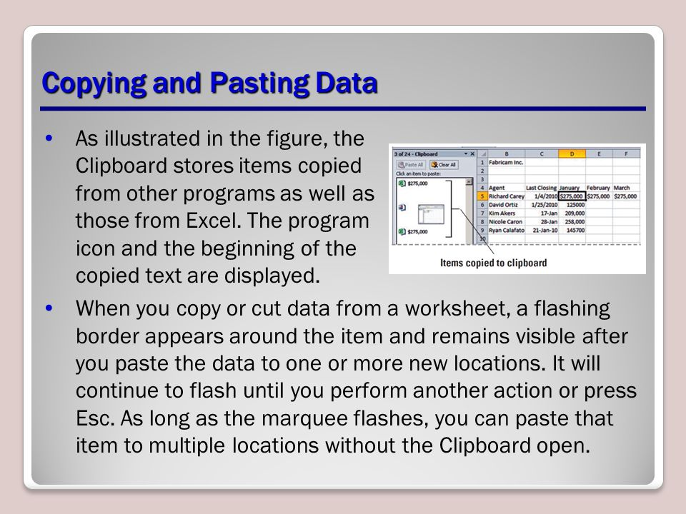Copying and Pasting Data As illustrated in the figure, the Clipboard stores items copied from other programs as well as those from Excel. The program