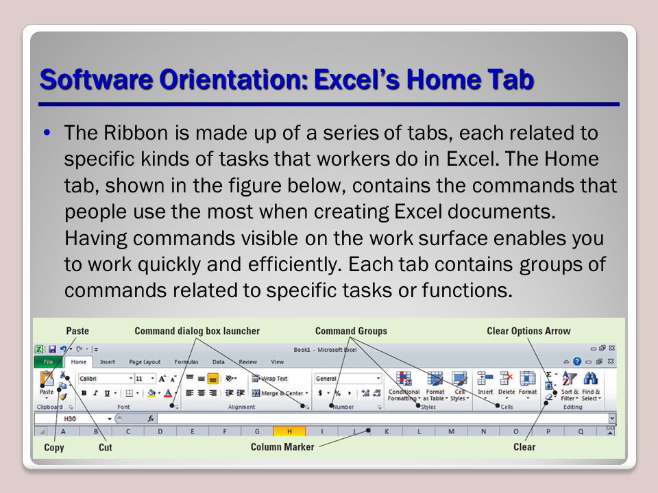 Software Orientation: Excel's Home Tab The Ribbon is made up of a series of tabs, each related to specific kinds of tasks that workers do in Excel. Th
