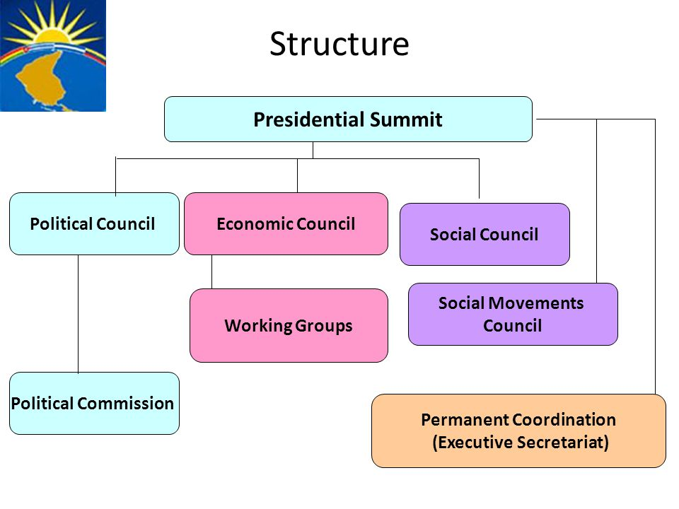 Structure Political CouncilEconomic Council Working Groups Presidential Summit Social Council Social Movements Council Permanent Coordination (Executive Secretariat) Political Commission