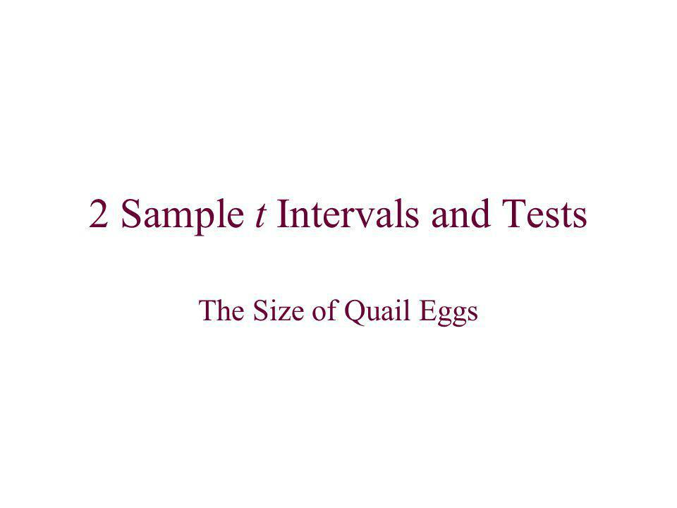 2 Sample t Intervals and Tests The Size of Quail Eggs