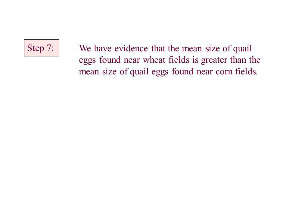 Step 7: We have evidence that the mean size of quail eggs found near wheat fields is greater than the mean size of quail eggs found near corn fields.
