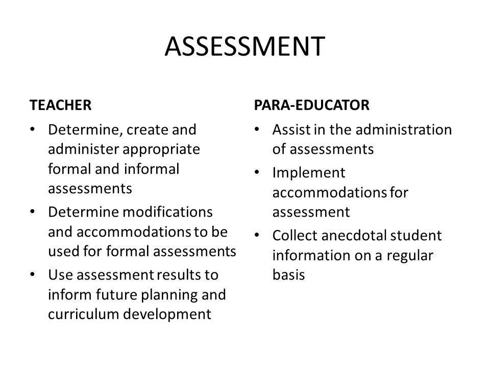 ASSESSMENT TEACHER Determine, create and administer appropriate formal and informal assessments Determine modifications and accommodations to be used