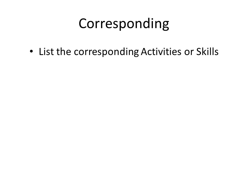 Corresponding List the corresponding Activities or Skills