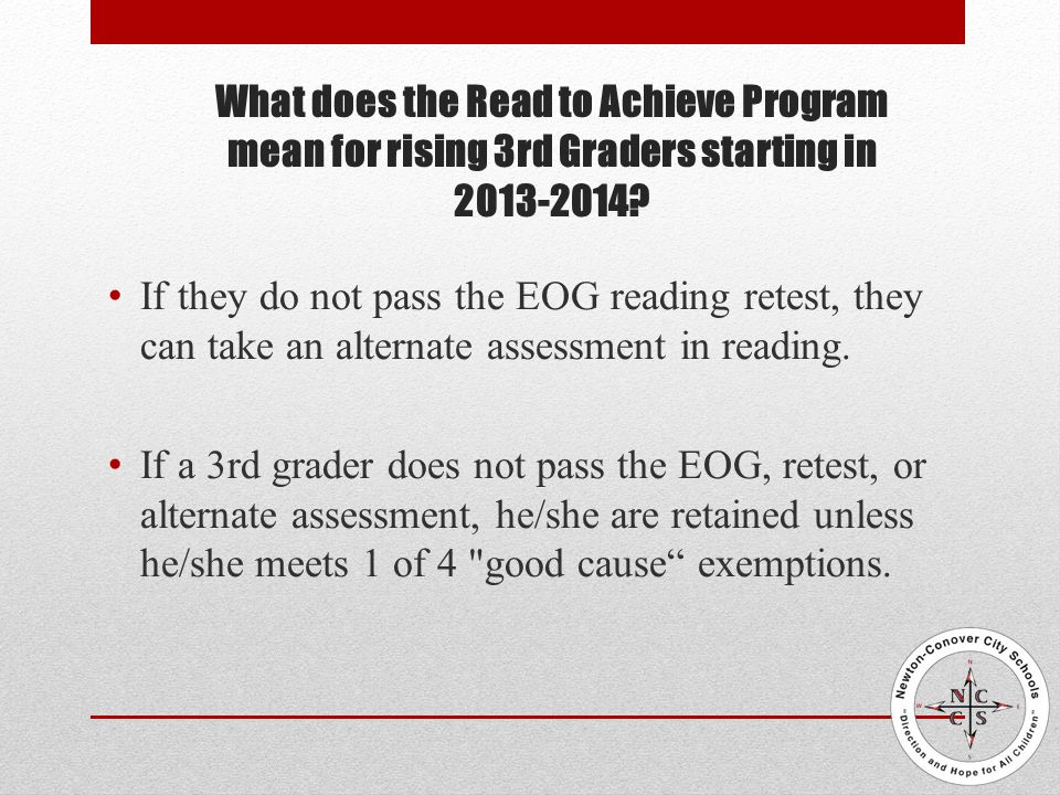 What happens if a student in the 3rd/4th grade classroom does not pass the 4th grade EOG.
