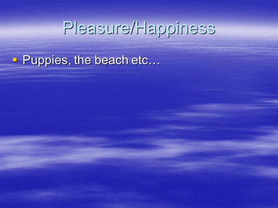 Pleasure/Happiness  Puppies, the beach etc…