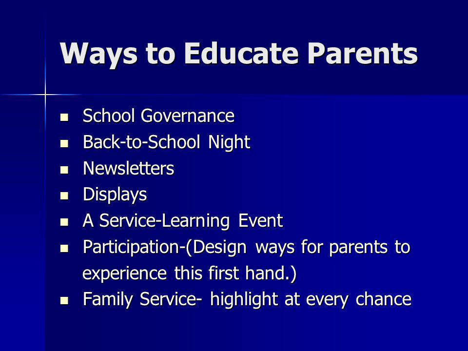 Ways to Educate Parents School Governance School Governance Back-to-School Night Back-to-School Night Newsletters Newsletters Displays Displays A Service-Learning Event A Service-Learning Event Participation-(Design ways for parents to Participation-(Design ways for parents to experience this first hand.) experience this first hand.) Family Service- highlight at every chance Family Service- highlight at every chance