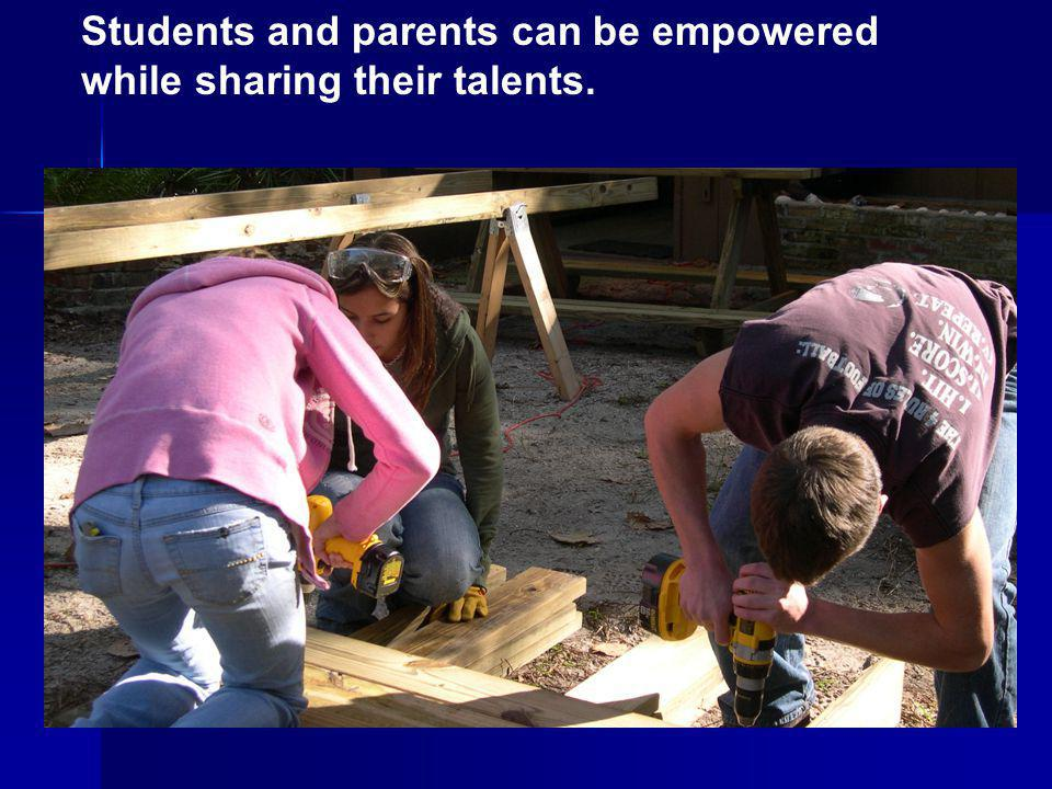 Students and parents can be empowered while sharing their talents.