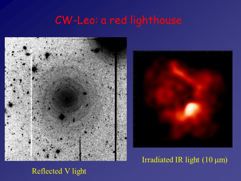 CW-Leo: a red lighthouse Reflected V light Irradiated IR light (10  m 