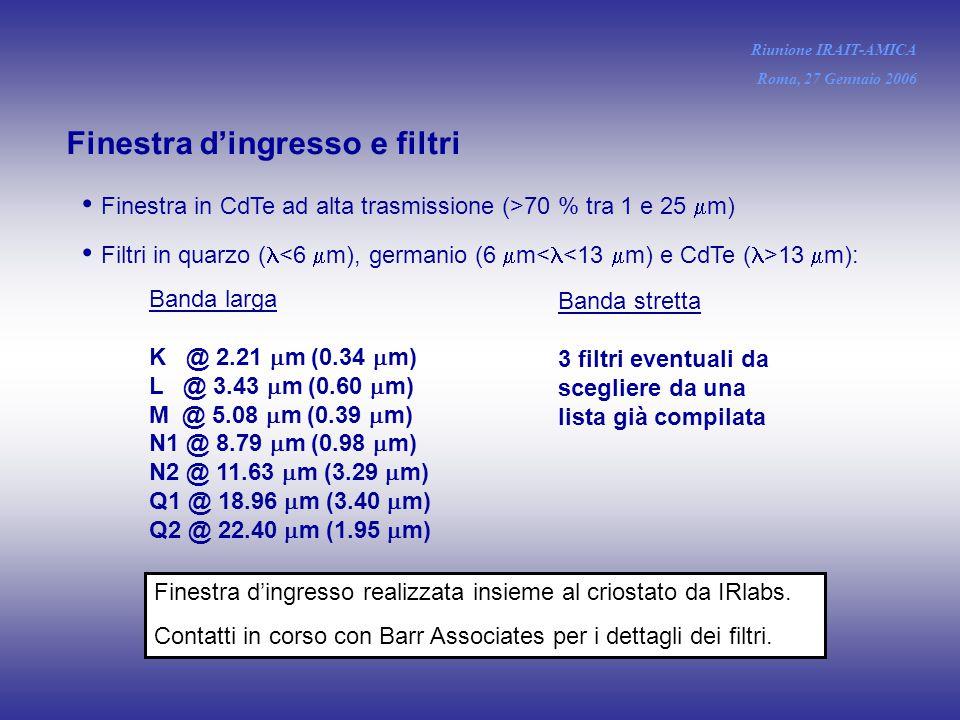 Finestra d'ingresso e filtri Finestra in CdTe ad alta trasmissione (>70 % tra 1 e 25  m) Filtri in quarzo ( 13  m): Banda larga K @ 2.21  m (0.34  m) L @ 3.43  m (0.60  m) M @ 5.08  m (0.39  m) N1 @ 8.79  m (0.98  m) N2 @ 11.63  m (3.29  m) Q1 @ 18.96  m (3.40  m) Q2 @ 22.40  m (1.95  m) Banda stretta 3 filtri eventuali da scegliere da una lista già compilata Riunione IRAIT-AMICA Roma, 27 Gennaio 2006 Finestra d'ingresso realizzata insieme al criostato da IRlabs.