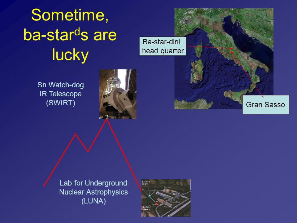Sometime, ba-star d s are lucky Lab for Underground Nuclear Astrophysics (LUNA) Ba-star-dini head quarter Gran Sasso Sn Watch-dog IR Telescope (SWIRT)