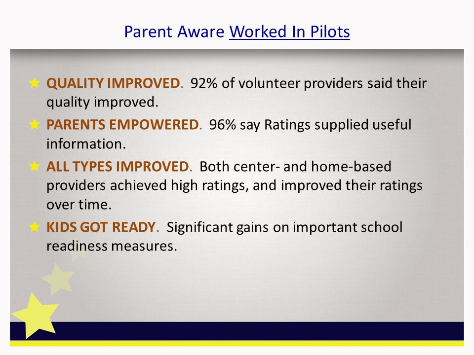 Parent Aware Worked In Pilots QUALITY IMPROVED.