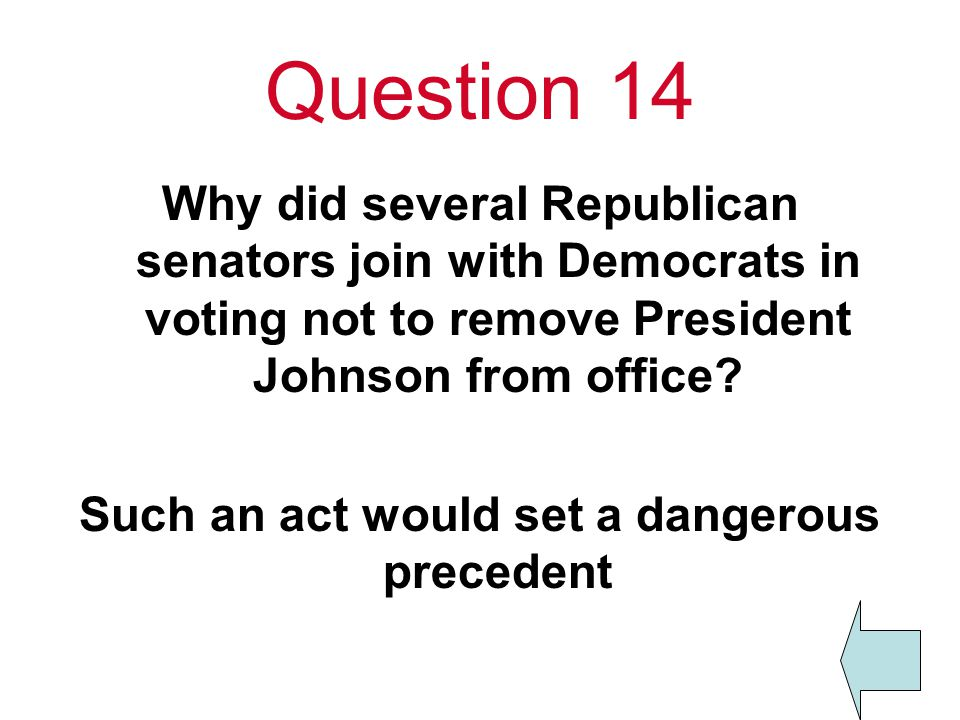 Question 14 Why did several Republican senators join with Democrats in voting not to remove President Johnson from office.