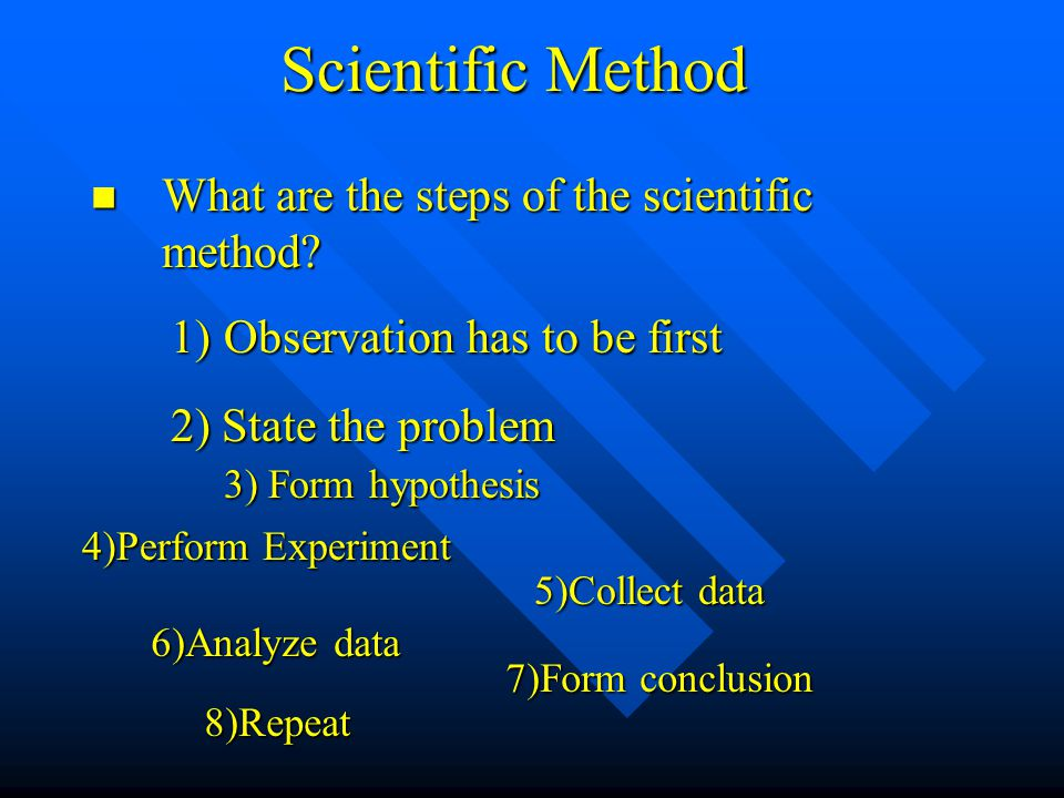 Scientific Method What are the steps of the scientific method.