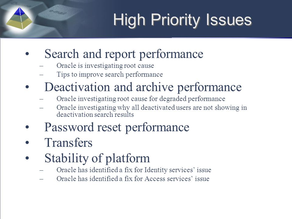 High Priority Issues Search and report performance –Oracle is investigating root cause –Tips to improve search performance Deactivation and archive pe