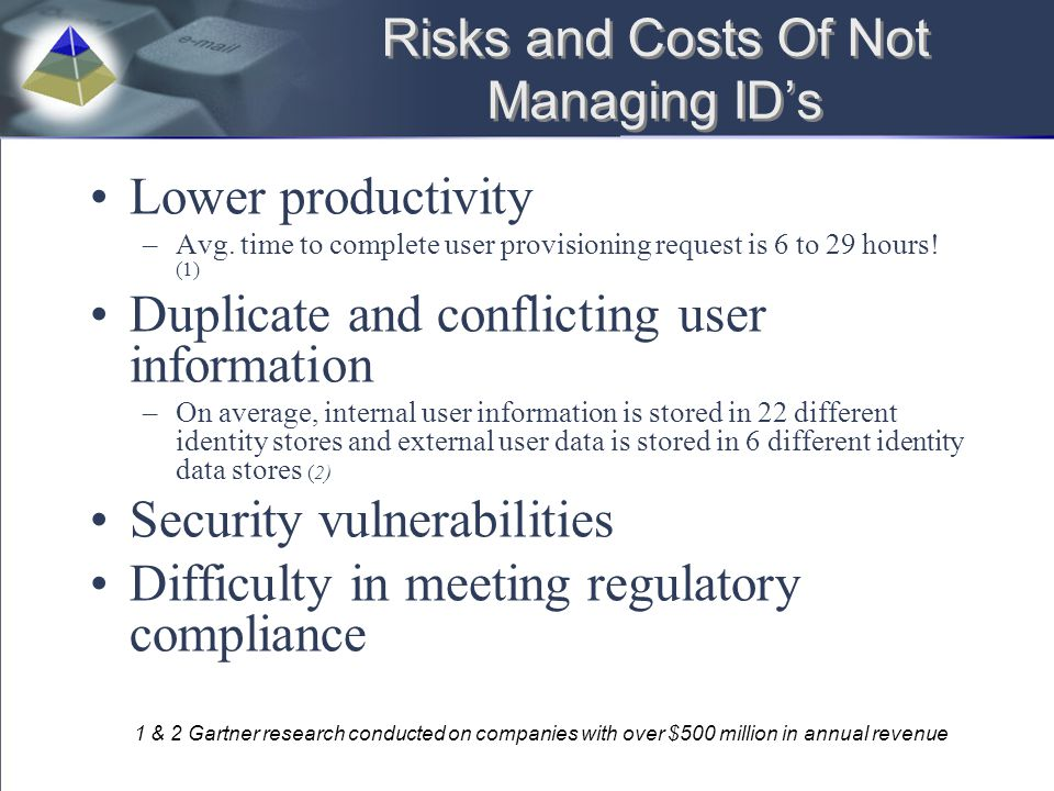 Risks and Costs Of Not Managing ID's Lower productivity –Avg. time to complete user provisioning request is 6 to 29 hours! (1) Duplicate and conflicti