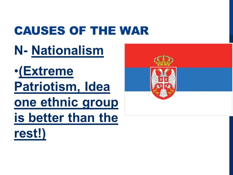 CAUSES OF THE WAR N- Nationalism (Extreme Patriotism, Idea one ethnic group is better than the rest!)