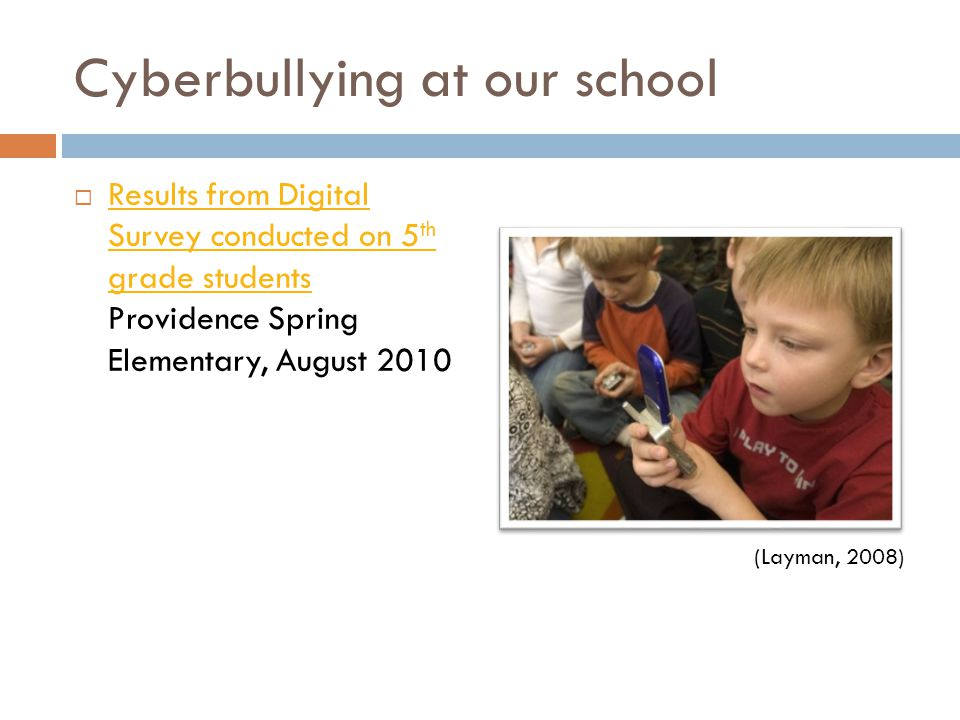 Cyberbullying at our school  Results from Digital Survey conducted on 5 th grade students Providence Spring Elementary, August 2010 Results from Digital Survey conducted on 5 th grade students (Layman, 2008)