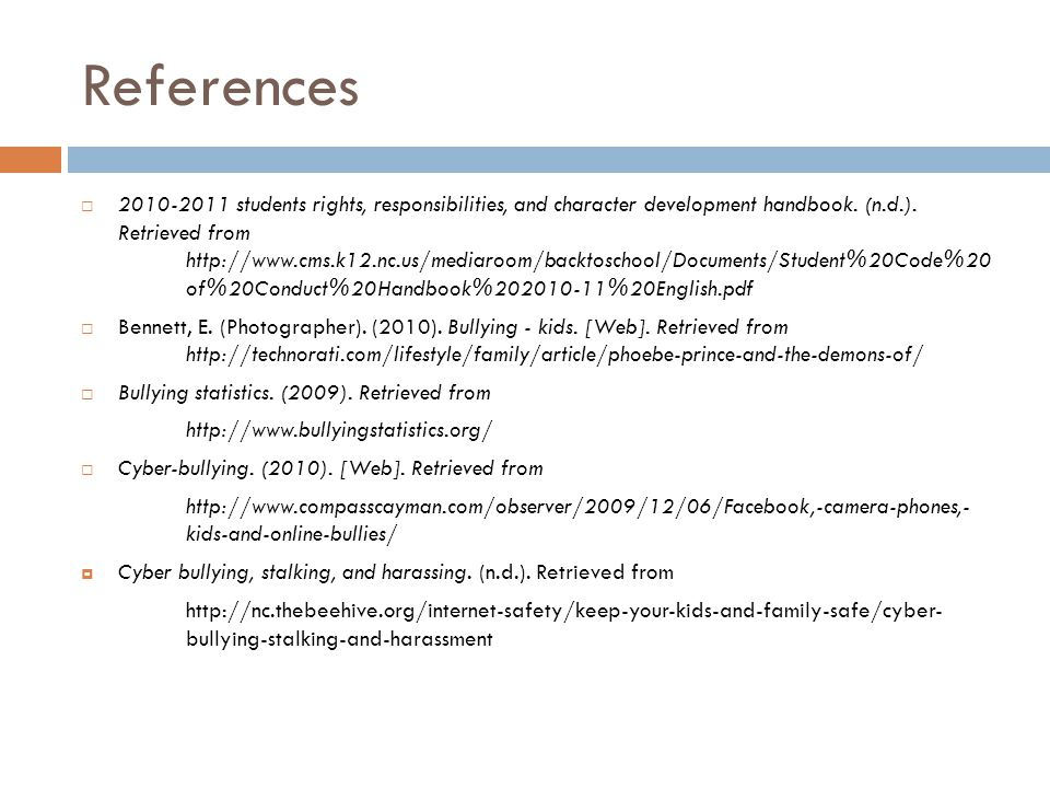 References  2010-2011 students rights, responsibilities, and character development handbook.