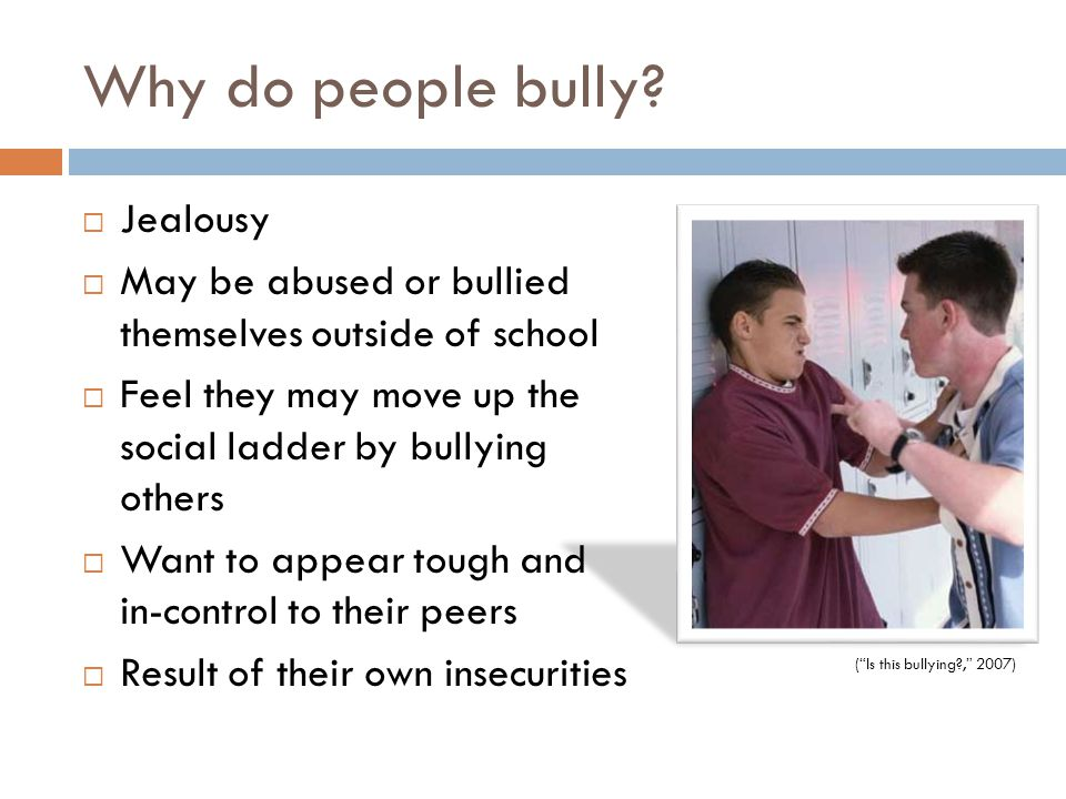 Why do people bully?  Jealousy  May be abused or bullied themselves outside of school  Feel they may move up the social ladder by bullying others 