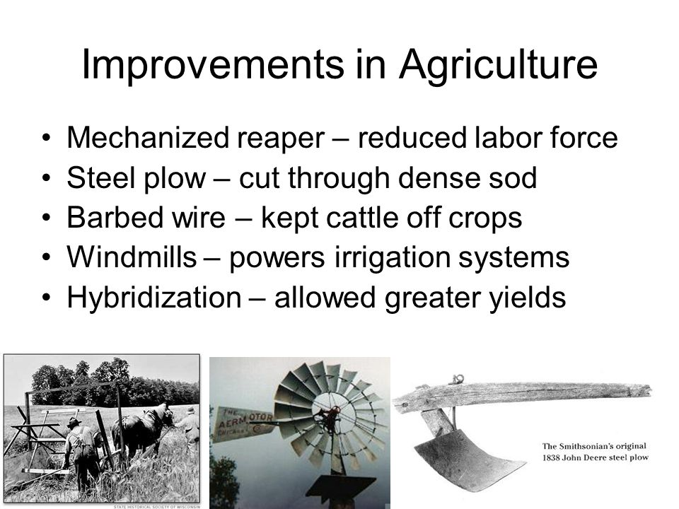 Improvements in Agriculture Mechanized reaper – reduced labor force Steel plow – cut through dense sod Barbed wire – kept cattle off crops Windmills –