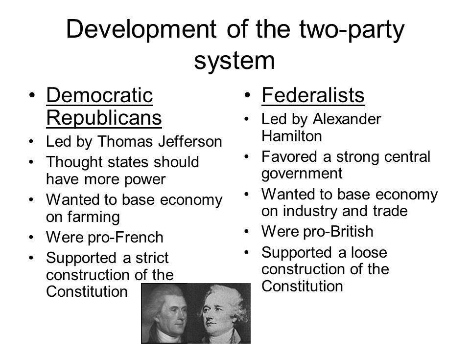 Development of the two-party system Democratic Republicans Led by Thomas Jefferson Thought states should have more power Wanted to base economy on far