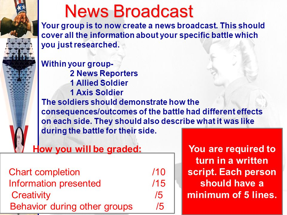 Group Research Your group will be assigned one of the following battles from World War 2… - Battle of the Atlantic - Battle of Stalingrad - Operation
