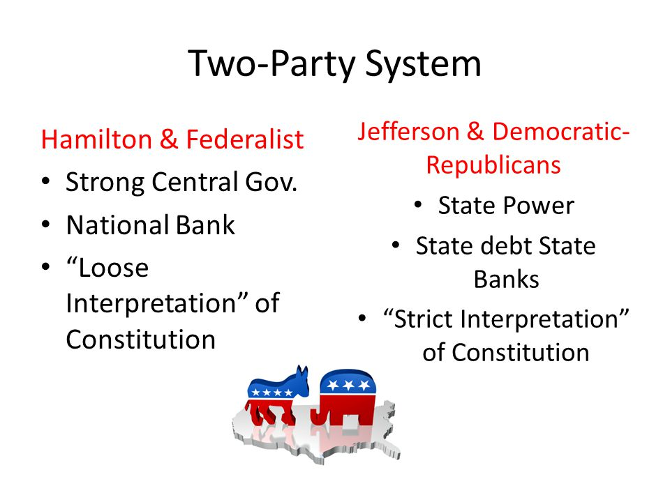 Hamilton's Economic Plan Set up a sound financial plan to deal with nations debt – Create National Bank – Gain Revenue Excise tax Tariffs – Nation assume states debts Proposed to move capital to South (Washington, D.C.) to help plan pass