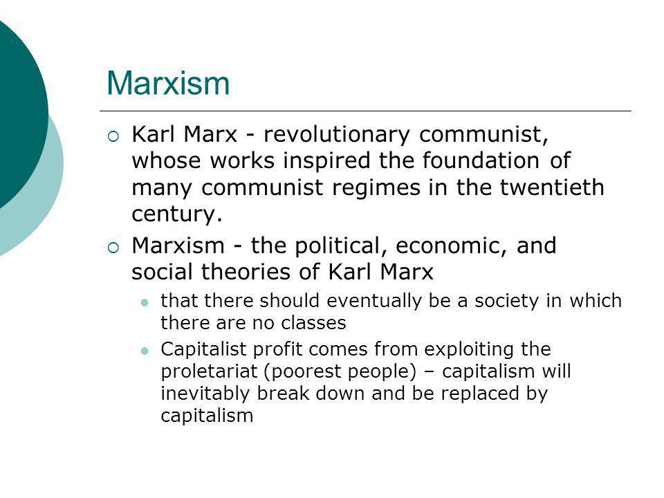 Marxism  Karl Marx - revolutionary communist, whose works inspired the foundation of many communist regimes in the twentieth century.  Marxism - the
