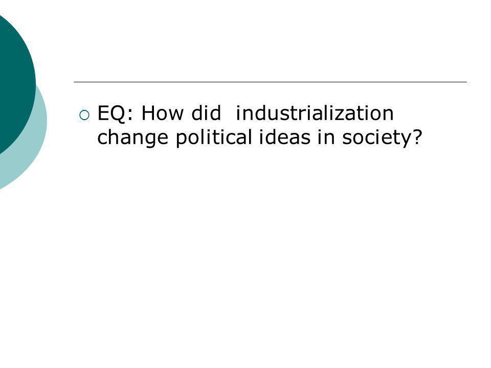  EQ: How did industrialization change political ideas in society?