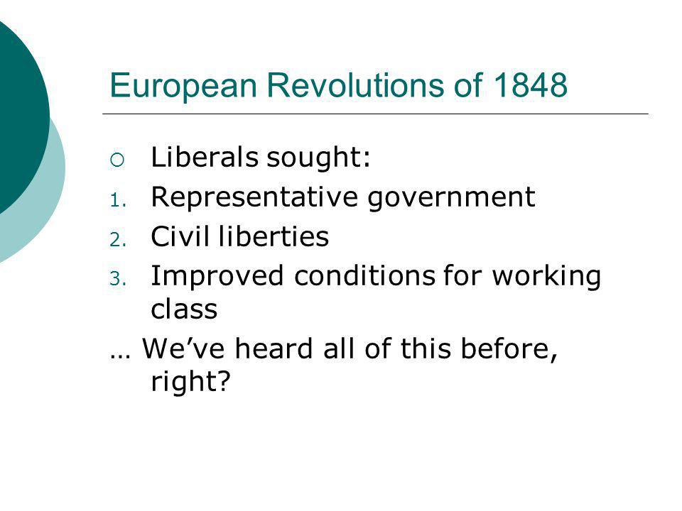 European Revolutions of 1848  Liberals sought: 1.
