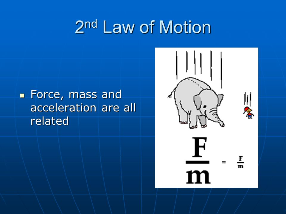 2 nd Law of Motion Force, mass and acceleration are all related Force, mass and acceleration are all related