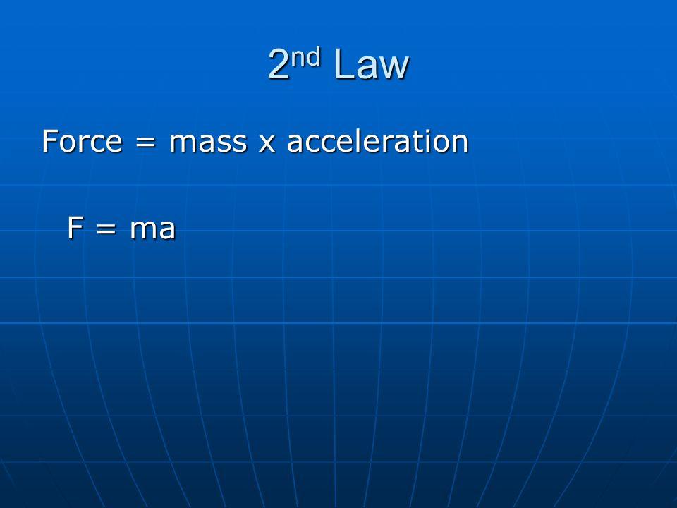2 nd Law Force = mass x acceleration F = ma
