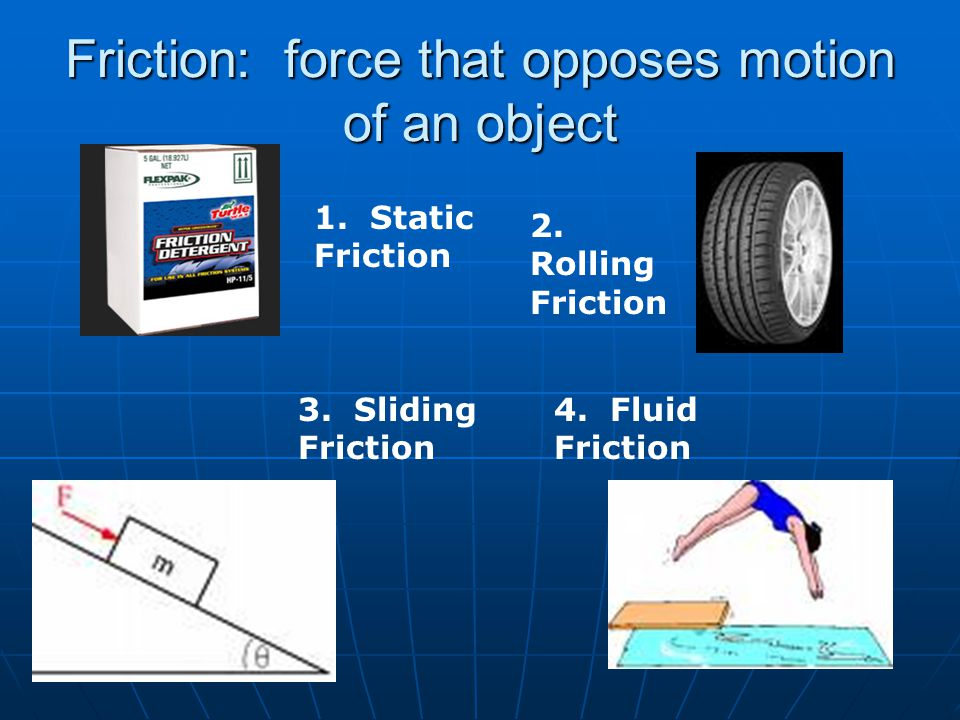 Friction: force that opposes motion of an object 1. Static Friction 2. Rolling Friction 3. Sliding Friction 4. Fluid Friction
