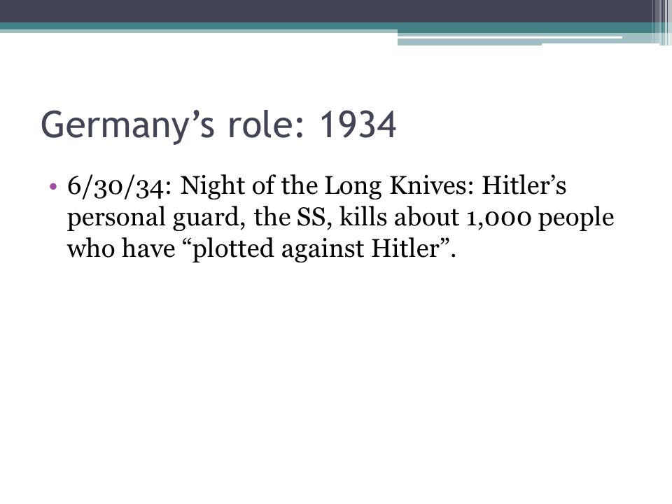 """6/30/34: Night of the Long Knives: Hitler's personal guard, the SS, kills about 1,000 people who have """"plotted against Hitler""""."""