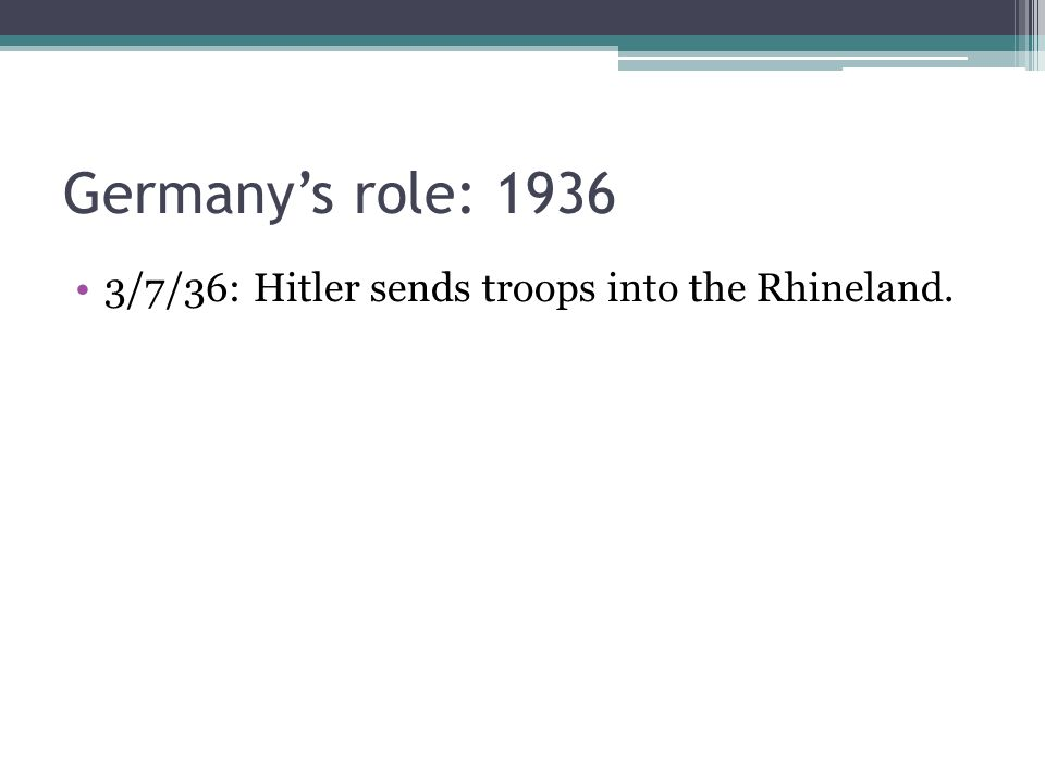 3/7/36: Hitler sends troops into the Rhineland.