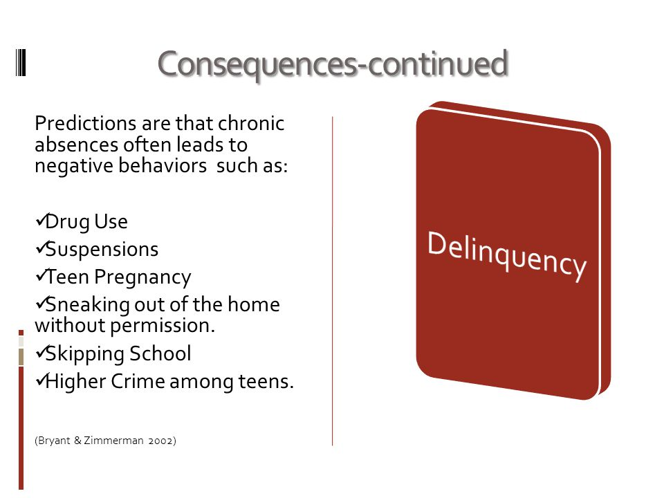 Consequences-continued Predictions are that chronic absences often leads to negative behaviors such as: Drug Use Suspensions Teen Pregnancy Sneaking out of the home without permission.