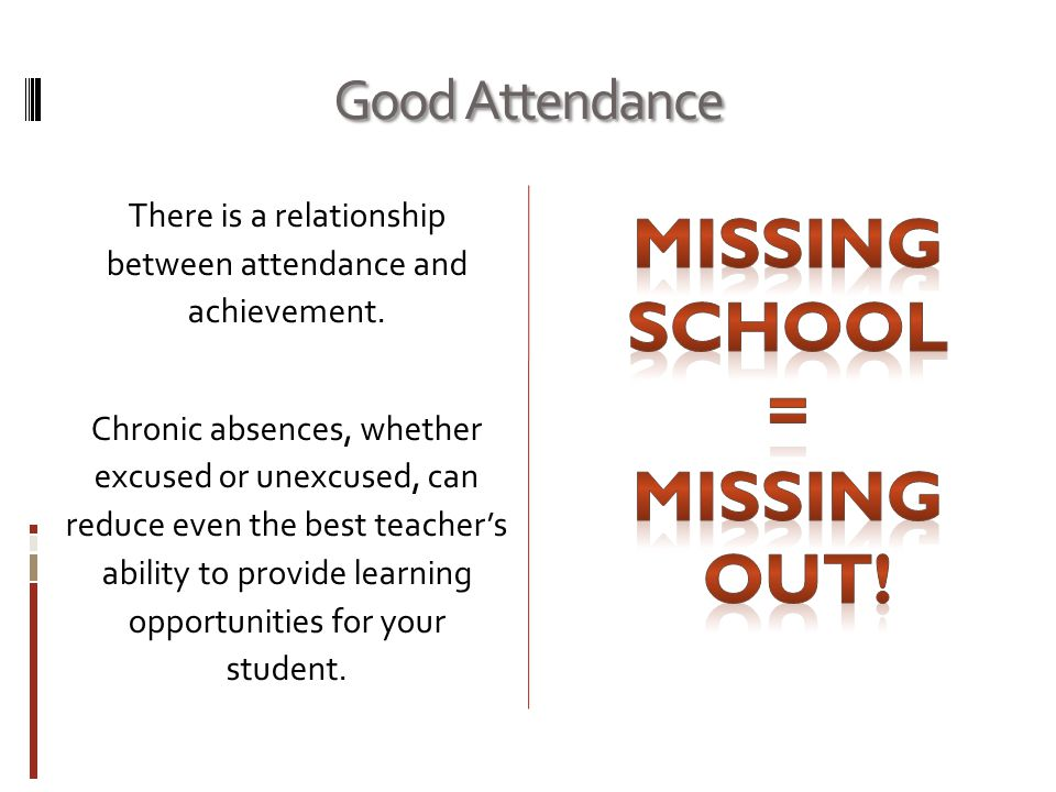 Good Attendance There is a relationship between attendance and achievement.