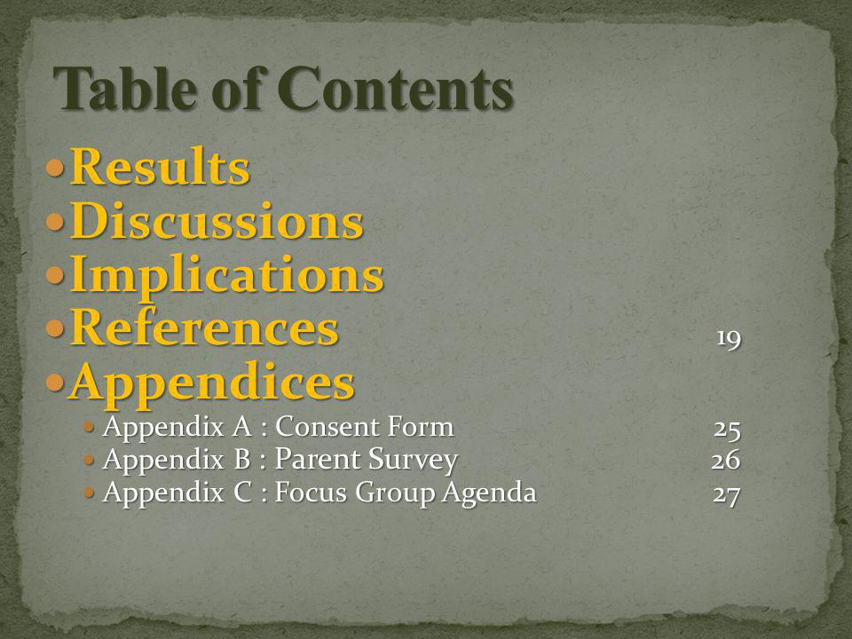 Results Results Discussions Discussions Implications Implications References 19 References 19 Appendices Appendices Appendix A : Consent Form 25 Appendix A : Consent Form 25 Appendix B : Parent Survey 26 Appendix B : Parent Survey 26 Appendix C : Focus Group Agenda 27 Appendix C : Focus Group Agenda 27