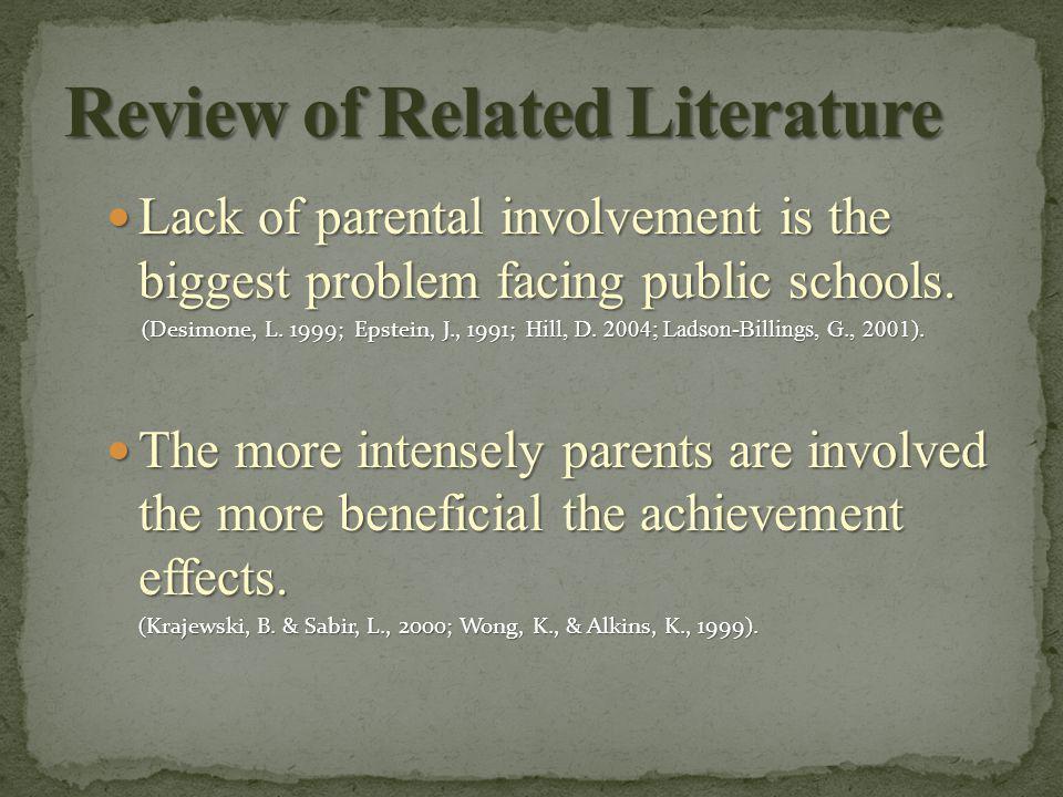 Lack of parental involvement is the biggest problem facing public schools.