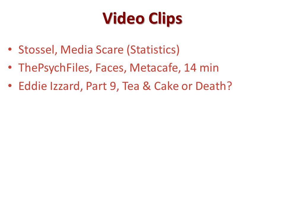 Video Clips Stossel, Media Scare (Statistics) ThePsychFiles, Faces, Metacafe, 14 min Eddie Izzard, Part 9, Tea & Cake or Death?