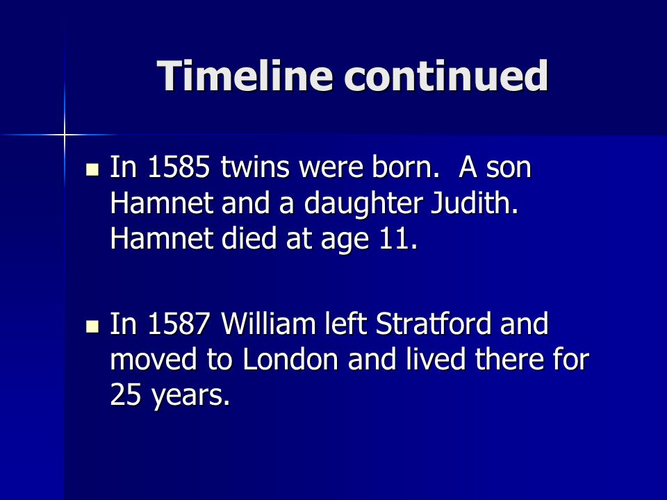 Timeline continued In 1585 twins were born. A son Hamnet and a daughter Judith. Hamnet died at age 11. In 1585 twins were born. A son Hamnet and a dau