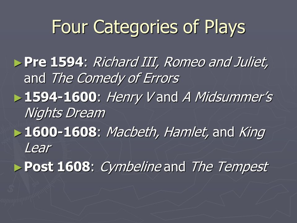 Four Categories of Plays ► Pre 1594: Richard III, Romeo and Juliet, and The Comedy of Errors ► 1594-1600: Henry V and A Midsummer's Nights Dream ► 1600-1608: Macbeth, Hamlet, and King Lear ► Post 1608: Cymbeline and The Tempest