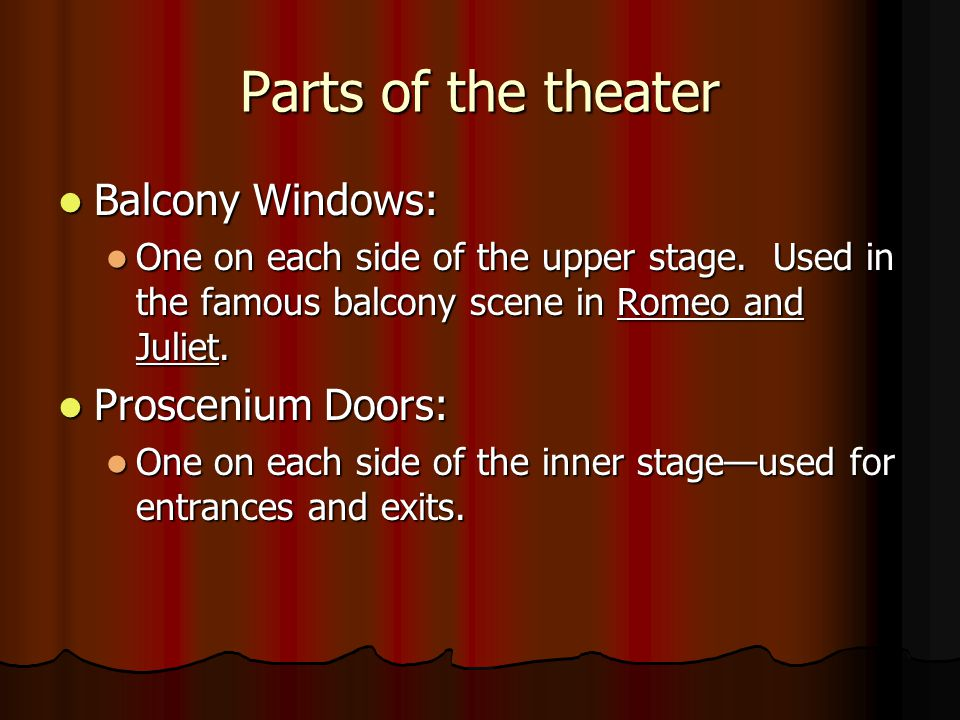 Parts of the theater Balcony Windows: Balcony Windows: One on each side of the upper stage.