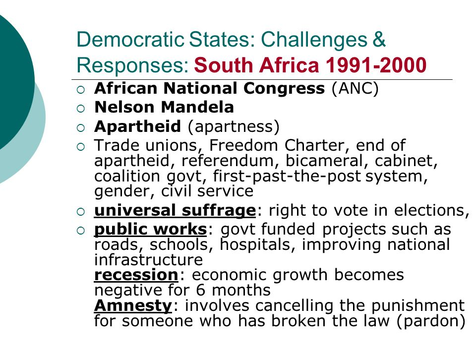 Democratic States: Challenges & Responses: South Africa 1991-2000  African National Congress (ANC)  Nelson Mandela  Apartheid (apartness)  Trade u