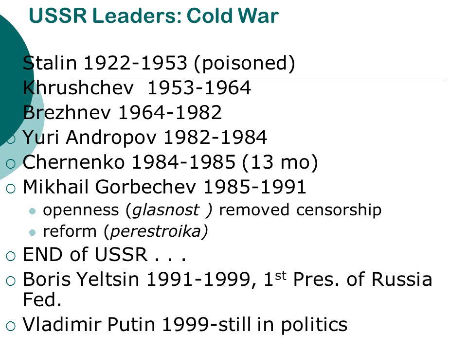 USSR Leaders: Cold War  Stalin 1922-1953 (poisoned)  Khrushchev 1953-1964  Brezhnev 1964-1982  Yuri Andropov 1982-1984  Chernenko 1984-1985 (13 m