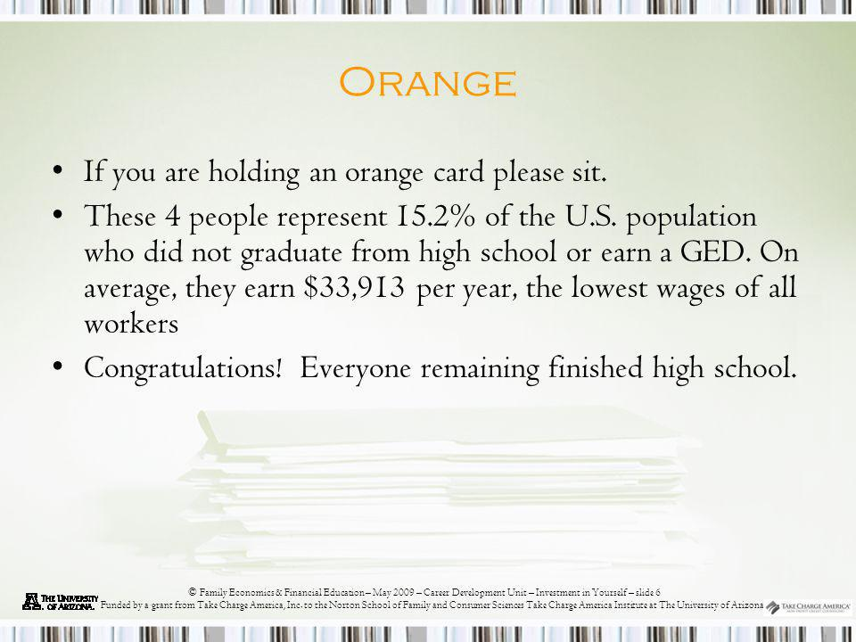 © Family Economics & Financial Education – May 2009 – Career Development Unit – Investment in Yourself – slide 7 Funded by a grant from Take Charge America, Inc.